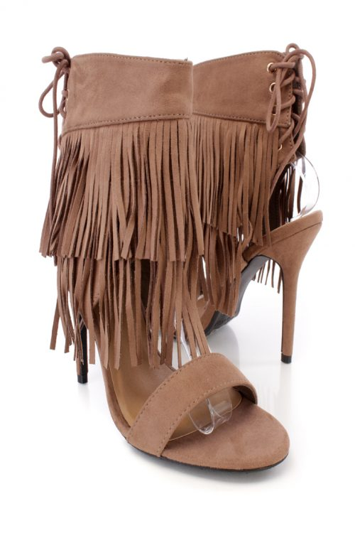Taupe Front Fall Fringe Open Toe Single Sole Faux Suede