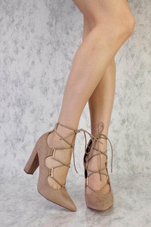 Taupe High Polish Front Lace Up Pointy Toe Single Sole Chunky Heels Faux Suede