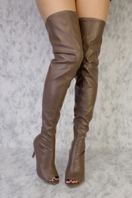 Taupe Peep Toe Single Sole Thigh High Heel Boots Faux Leather