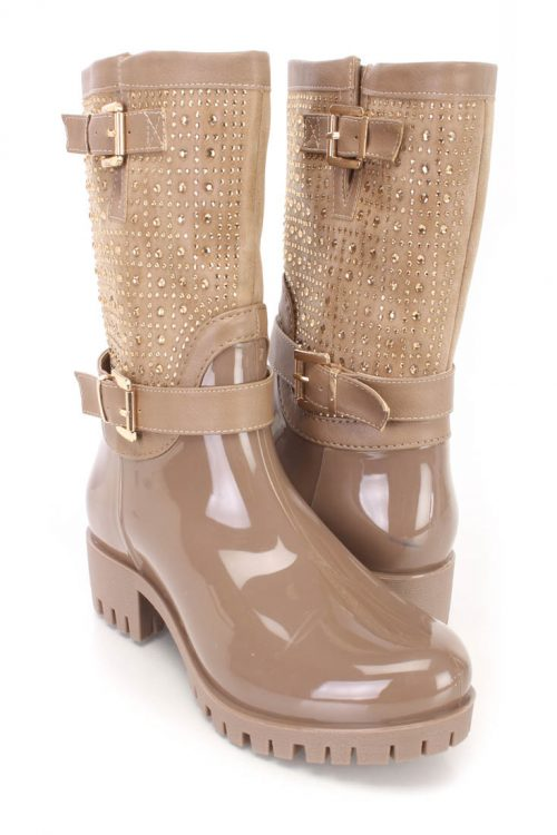 Taupe Rhinestones Decor Side Buckle Boots Patent