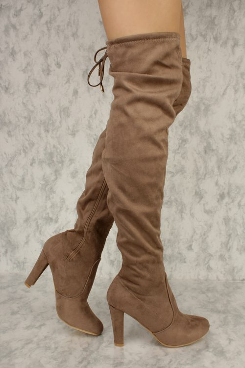 Taupe Slim Tassel Tie Round Toe Over The Knee Chunky Heel Boots Faux Suede