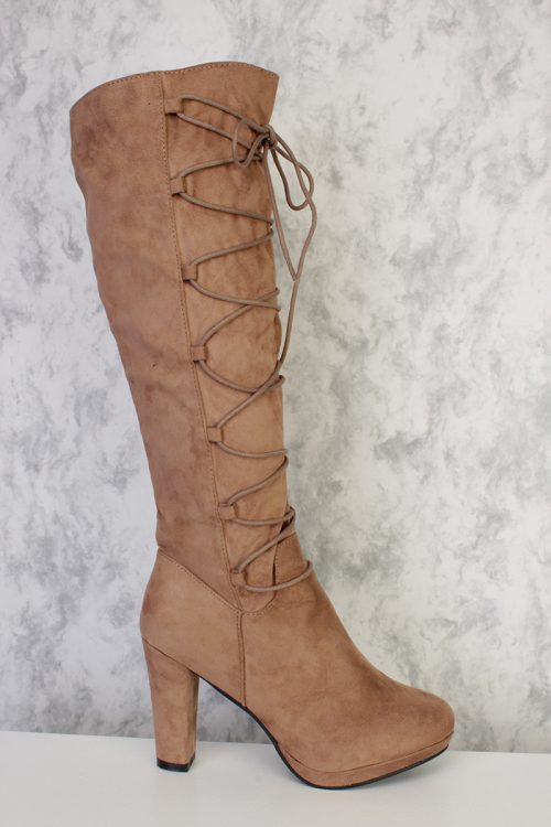 Taupe Strappy Lace Detail Round Pointy Toe Chunky Heel Boots Suede