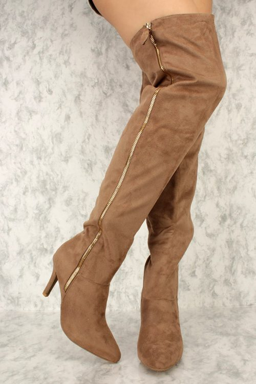 Taupe Thigh High Single Sole High Heel Boots Faux Suede