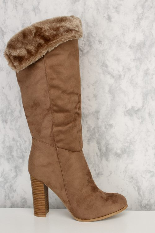 Taupe Versatile Inner Faux Fur Pointy Round Toe Chunky Heel Velvet Suede Boots