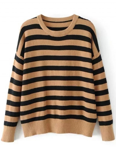 Vintage Long Sleeve Round Neck Striped Sweater