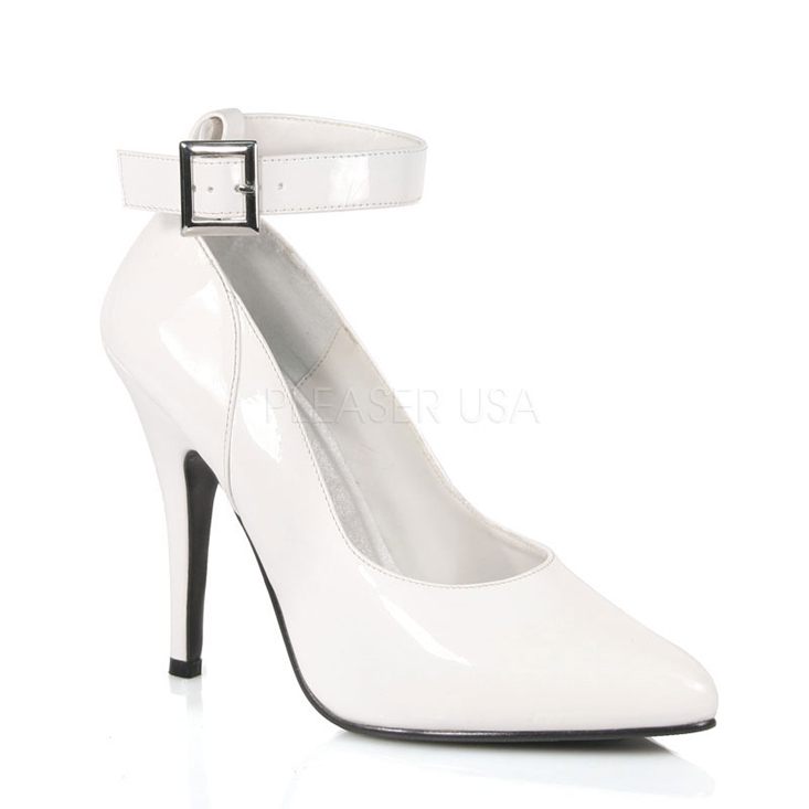 White Ankle Strap Single Sole Heels Patent