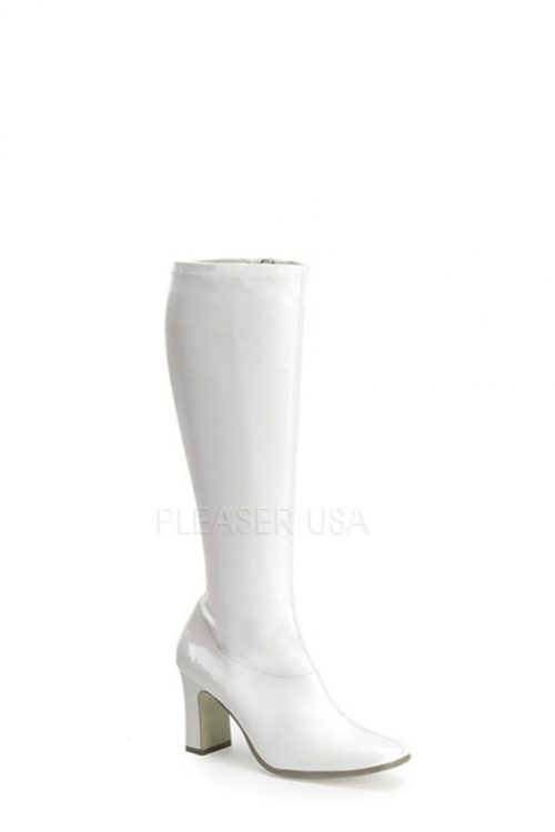White Chunky Heel GoGo Boots Faux Leather