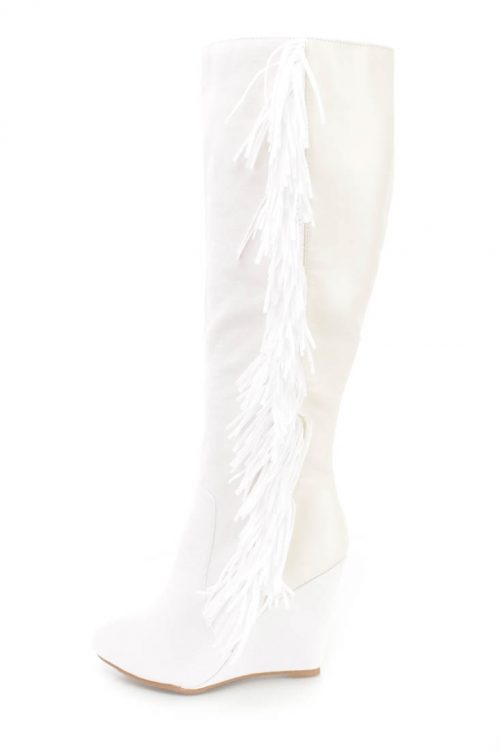 White Fringe Detail Wedge Knee High Boots Faux Suede