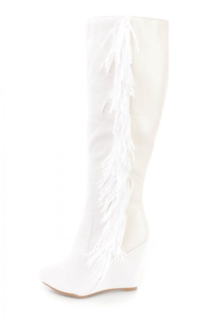 White Fringe Detail Wedge Knee High Boots Faux Suede-6