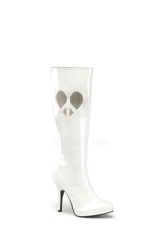 White Peace Heart Cut Out Knee High Boots Patent