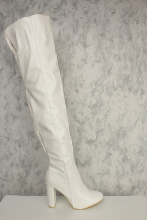 White Round Pointy Toe Over The Knee Chunky Heel Ami ClubWear Boots Faux Leather