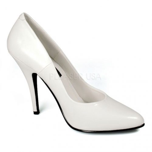 White Single Sole Pump Heels Faux Leather