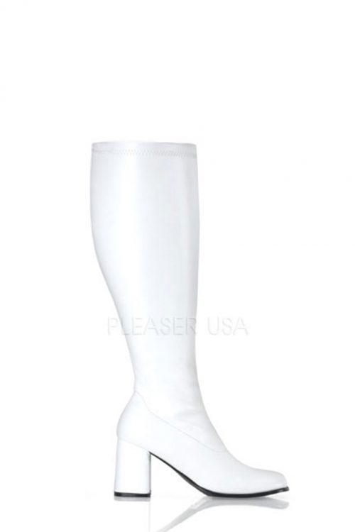 White Wide Calf Chunky Heel GoGo Boots Faux Leather