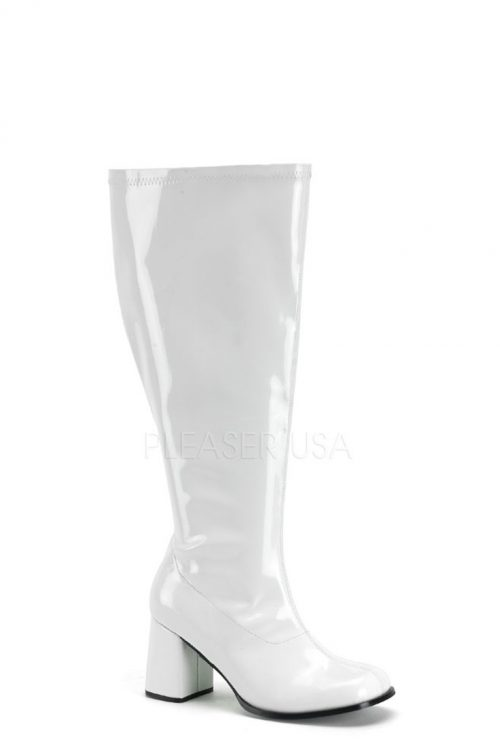 White Wide Width Calf Chunky Heel GoGo Boots Patent