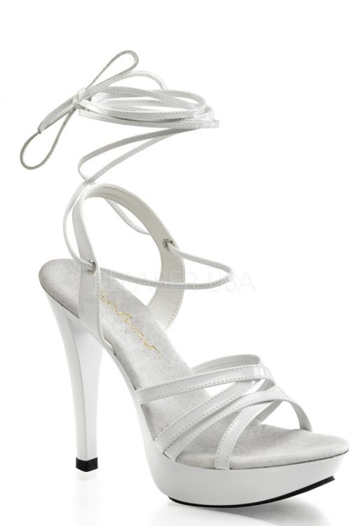 White Wrap Around Strap Platform Heels Patent