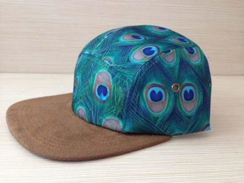 Wholesale-2015 New Peacock Feather Fashion Print Baseball Cap 5 Panel Casquette Snapback Hats for Adult