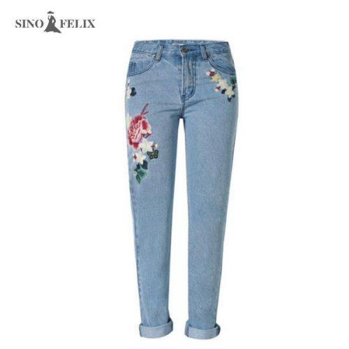 Wholesale- 2017 spring new Women sweet floral embroidery pastoralism denim jeans pockets ankle length pants ladies casual trouse TOP118