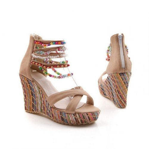 Wholesale Summer Fashion Woman Sandals Shoes Bohemian Sandals Comfortable Sweet Wedge Heels Shoes for Girls SNE-045