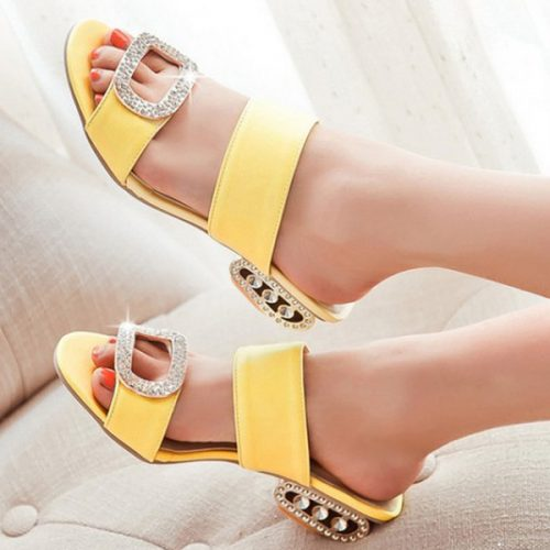 Wholesale-Women Sandals 2016 Ladies Summer Slippers Shoes Women Low Heels Sandals Large Size 9 10 Fashion Orange Rhinestone Shoes Yellow
