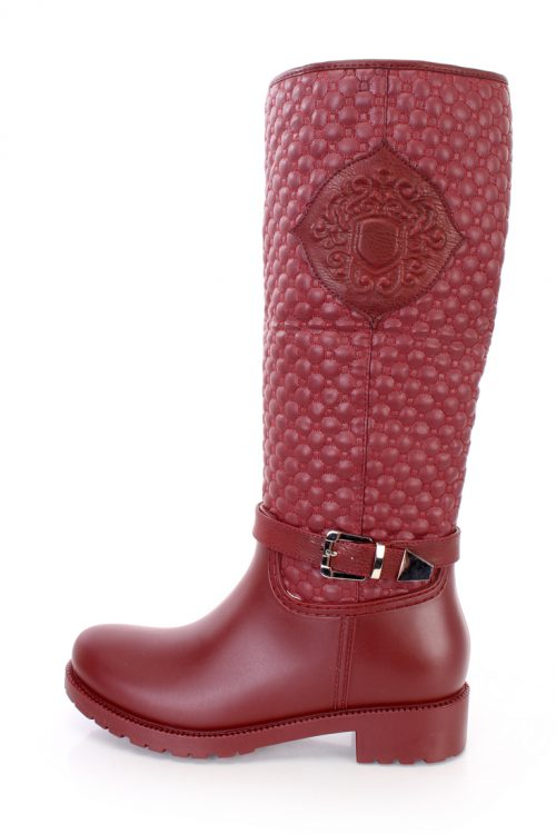 Wine Stitched Quilted Riding Boots Faux Leather