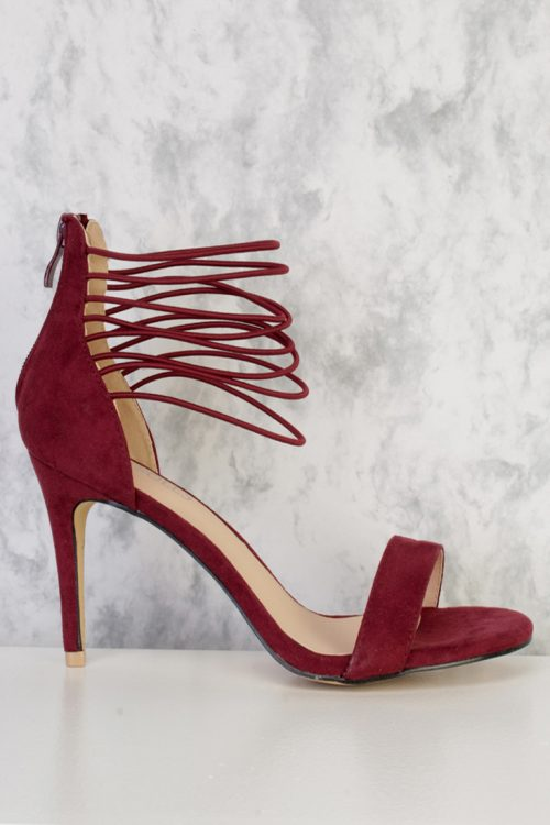 Wine Strappy Elastic Detailing Single Sole High Heel Faux Suede