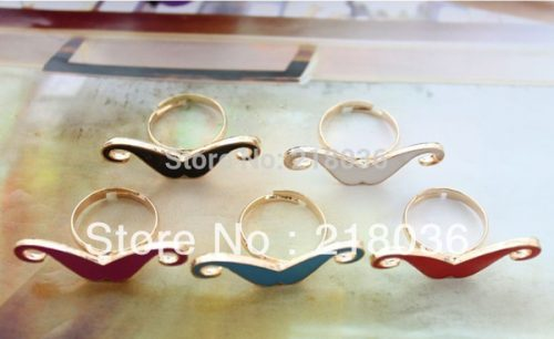 100PCS Fashion Mixed Colours Optional Enamel Mustache Finger Rings For Women Dress Brand Wedding Rings DIY Making Jewelry Bijoux M2347