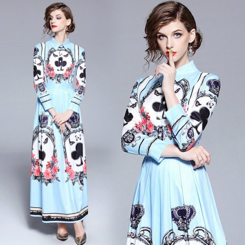 2018 Runway Fashion Floral Print Max Designer Dresses New Arrival Summer Long Sleeve Round Crew Neck Wholesale Women Ladies Casual