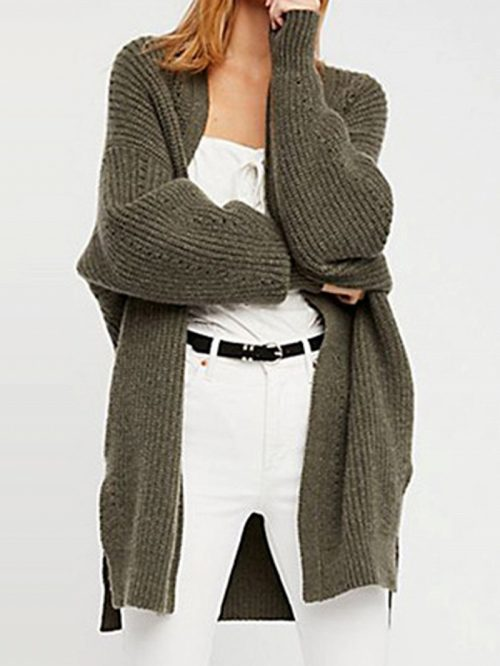 Army Green Open Front Long Sleeve Chic Women Knit Cardigan