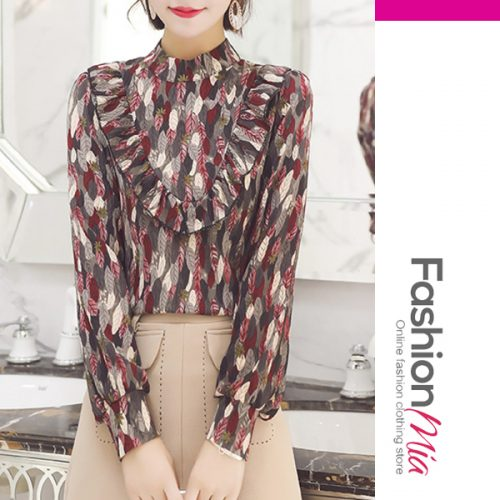 Autumn Spring Polyester Women High Neck Flounce Floral Printed Long Sleeve Blouses