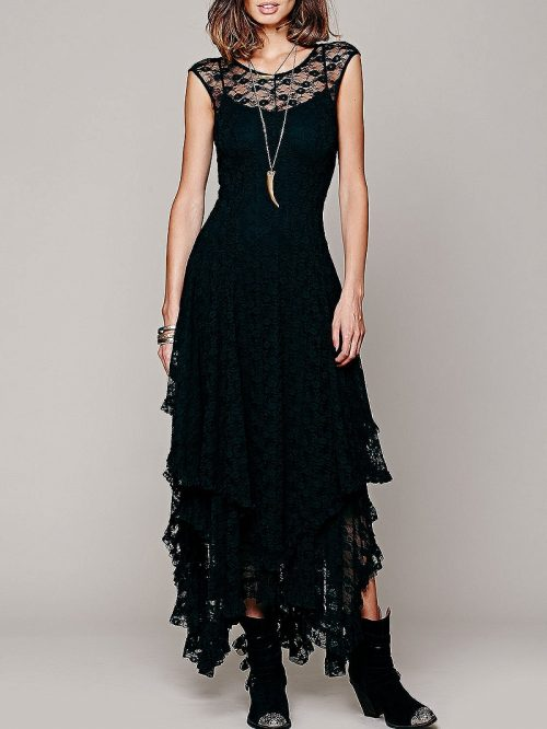 Black Asymmetric Hem Open Back Lace Dress