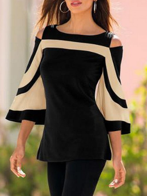 Black Cold Shoulder Flare Sleeve T-shirt