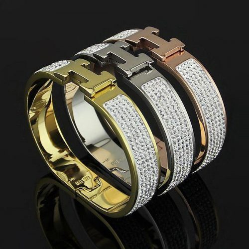 Fashion Titanium steel H shape about 17cm with diamond bangle 1.2cm width brand name for women size in 5.7*4.5cm jewelry