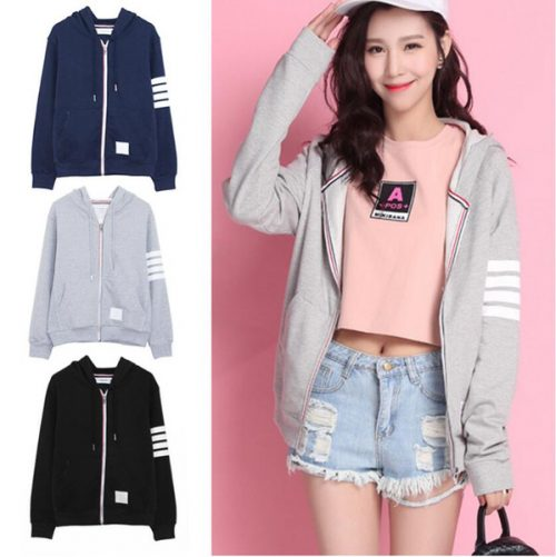 Fashion Women Hoodies Sweatshirts Spring Autumn Women Zipper Design thom logo Lady Hoody Sweatshirt Plus Size