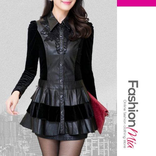 Fold-Over Collar Patchwork Single Breasted Long Sleeve Coats