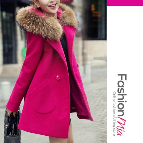 Hooded Double Breasted Patch Pocket Plain Long Sleeve Coats
