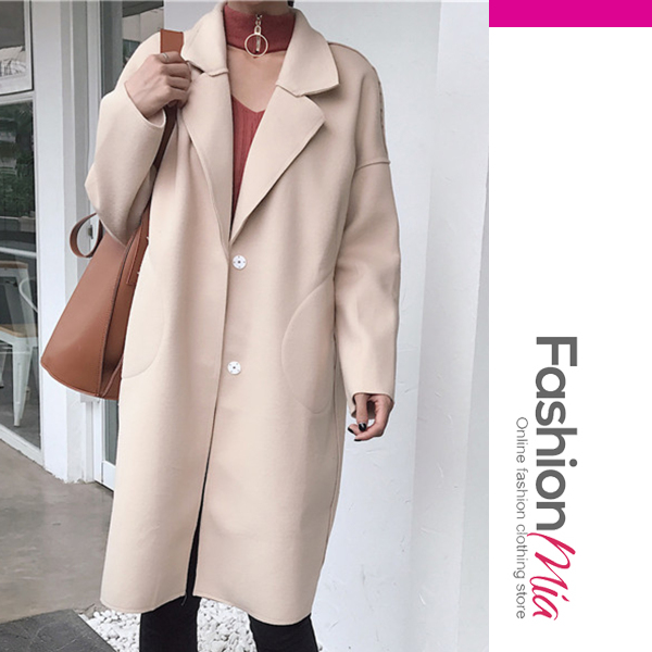 Lapel Plain Woolen Pocket Long Coat