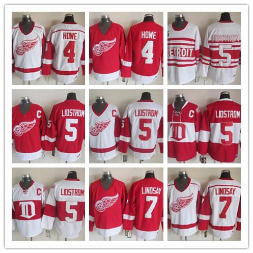 Mens Stitched Deriot Red Wings Vintage Jerseys 7 Ted Lindsay 5 Nicklas Lidstrom 4 HOWE White Red 75th CCM Ice Hockey Jerseys
