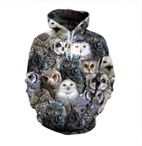 New Fashion Women/Men Couples Owl Funny 3d Print Hoodies Hoody Long Sleeve Hooded Sweatshirts Pullover Tops YE01