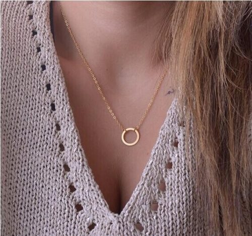 New Fashion women necklace punk Dainty Collier Jewelry Cheap Hollow Circle Round Minimalist Chain Pendant Necklace For Women Jewelry