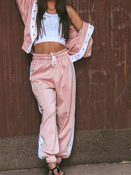 Pink Cotton Long Sleeve Chic Women Hoodie Coat And High Waist Pants