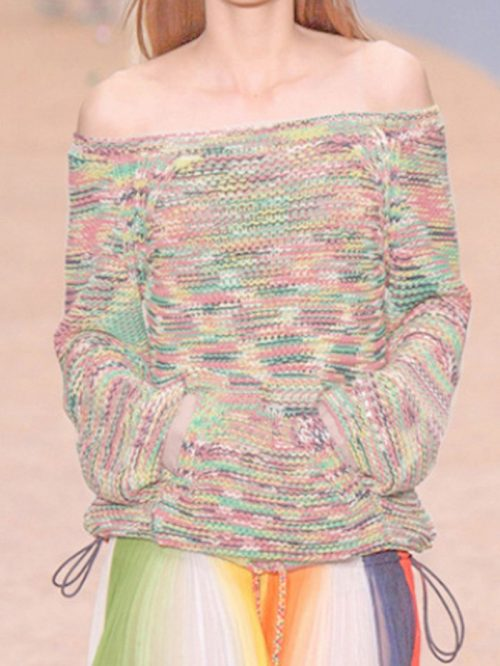 Polychrome Off Shoulder Long Sleeve Chic Women Knit Sweater