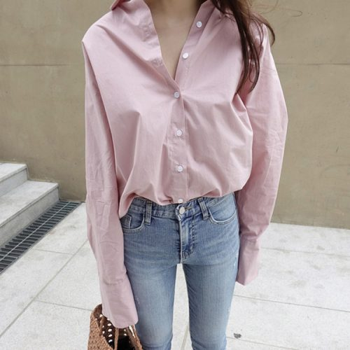 Spring Fresh White Pink Solid Color Blouse Long Sleeve Shirt Women Top Fashion Chemise Femme Chemisier Blusa Mujer Camisa