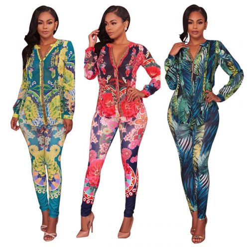Sublimation Printing Women Two Pieces Set 3 Colors Deep V Neck Long Sleeved Casual Tops + Pants Suit 2PCS Sets Bodycon Jumpsuits