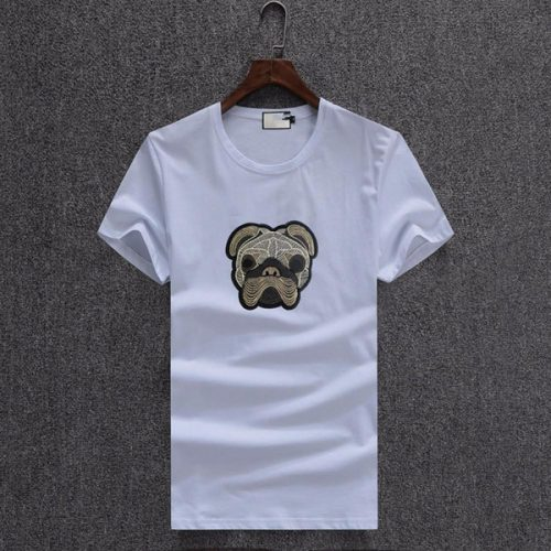 Summer New Dog Embroidery Slim fit Men's Short Sleeve plain T-Shirt men tshirts fashions medusa shirts