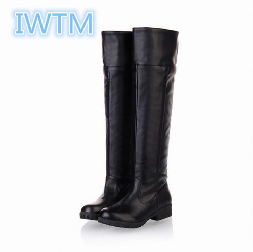 Wholesale-Plus Size 35-43 New Fashion 2016 Winter Women Flat Boots Women's Knights Boots Attack On Titan Cosplay Boots IWTM-3139