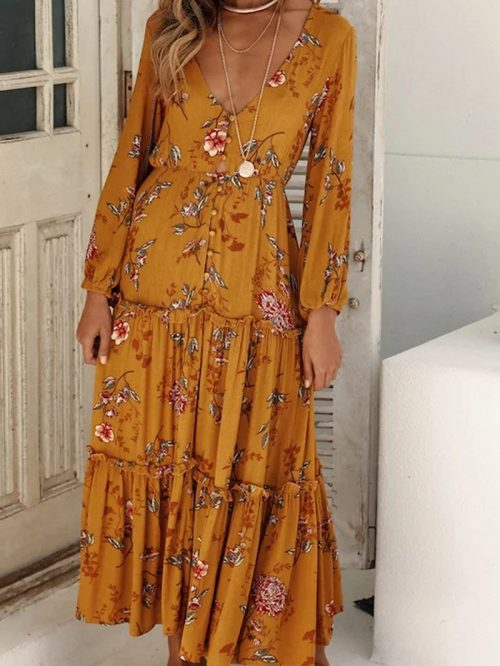 Yellow Cotton Floral Print Long Sleeve Chic Women Maxi Dress