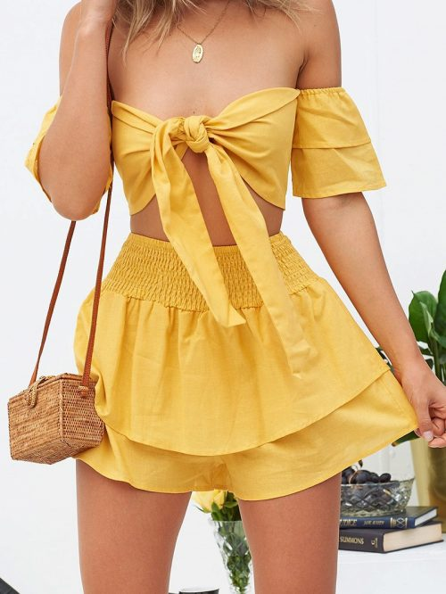Yellow Off Shoulder Chic Women Crop Top And High Waist Skirt